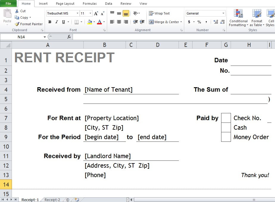 Best Excel Rental Receipt Template