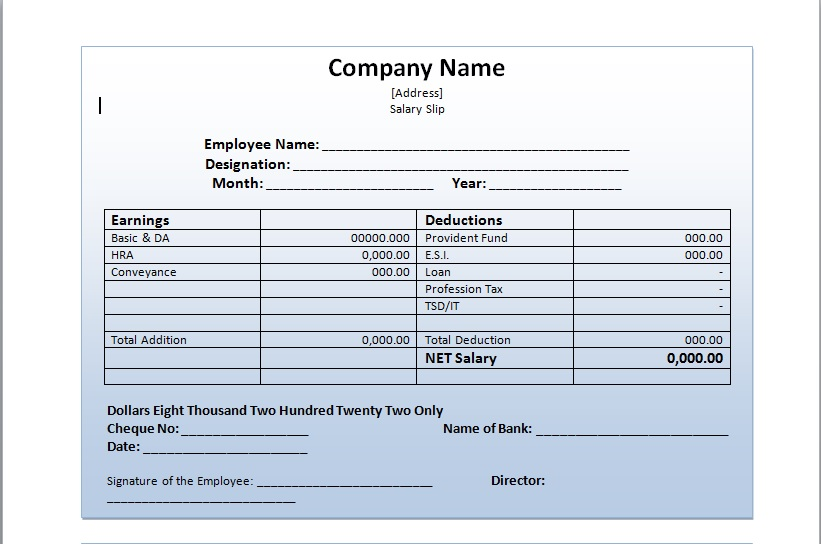 How Salary Slip Template Can Make Your Life Easy