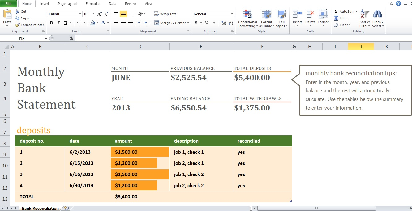 Monthly Bank Reconciliation Statement Template