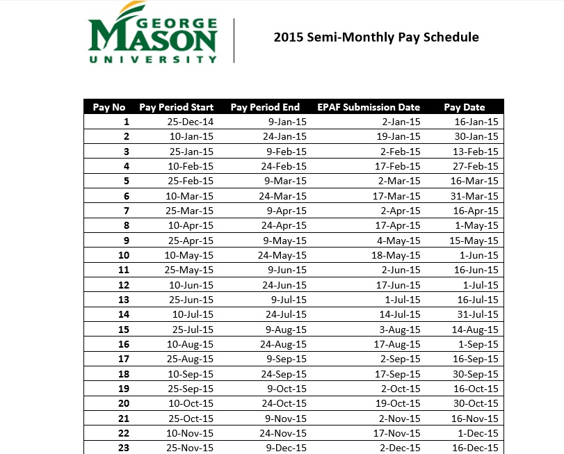 2015 Semi Monthly Pay Schedule pdf template