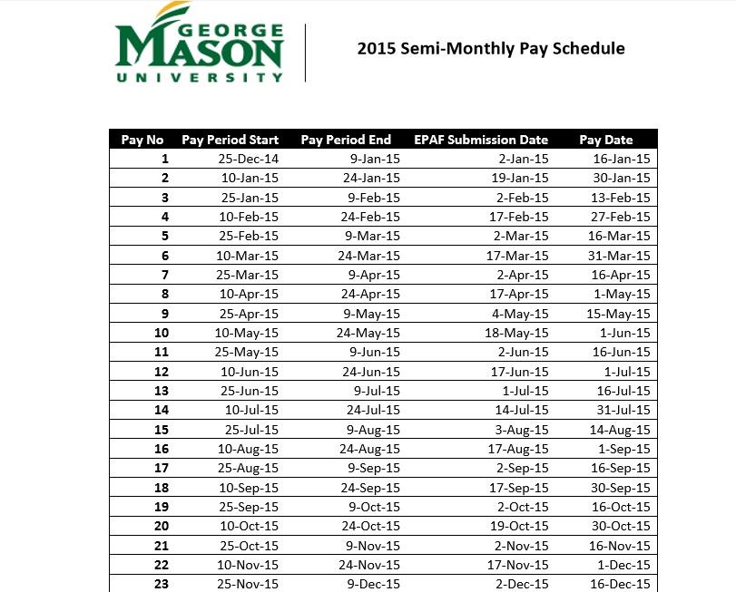 2015 Semi MonthlyPay Schedule pdf template