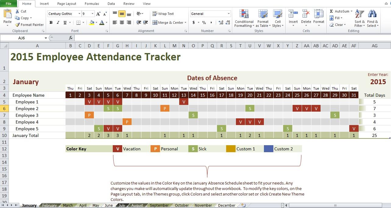 Employee Attendance Tracking Calendar Template