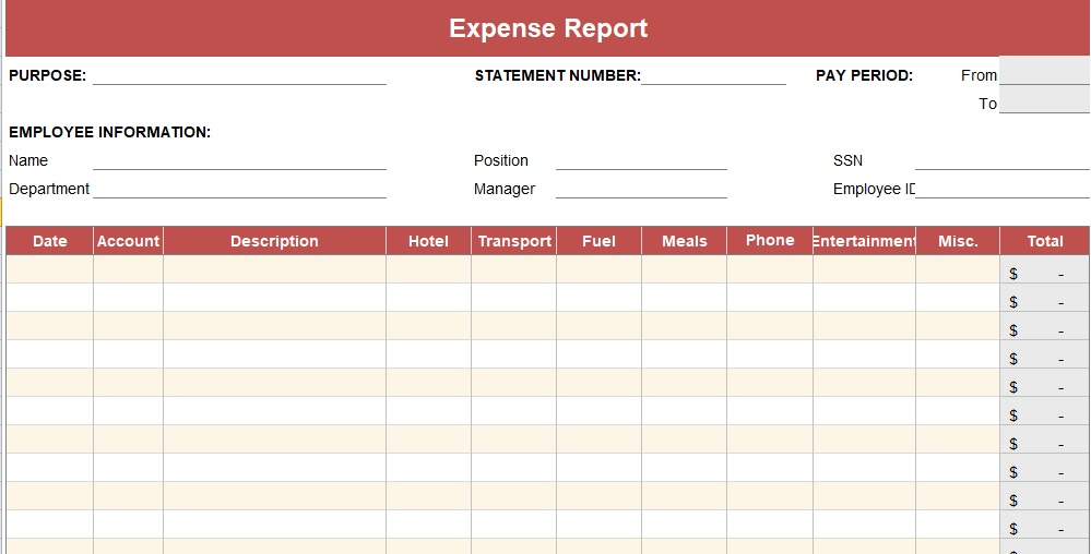 Expense Report Excel Template  Annual Expense Report Template