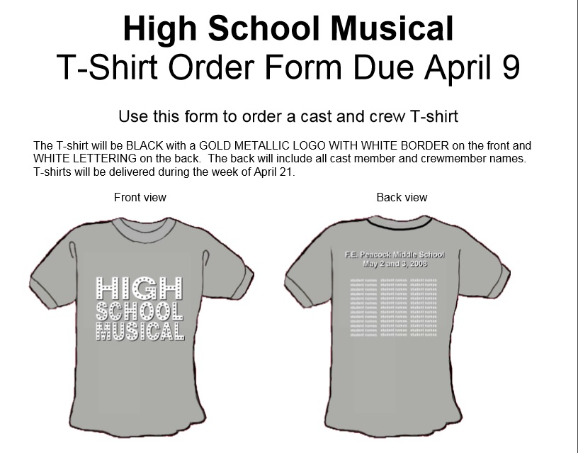 High School T Shirt Order Form PDF Format