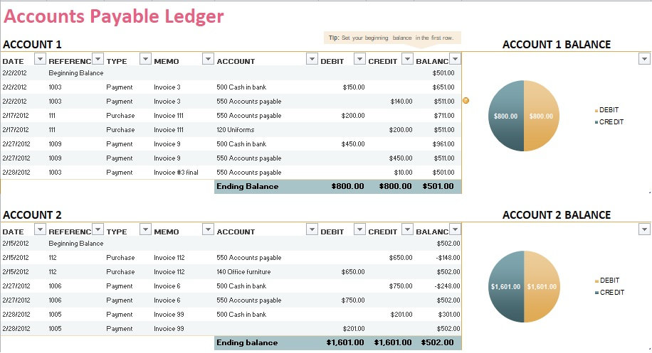 ledger for accounts payable