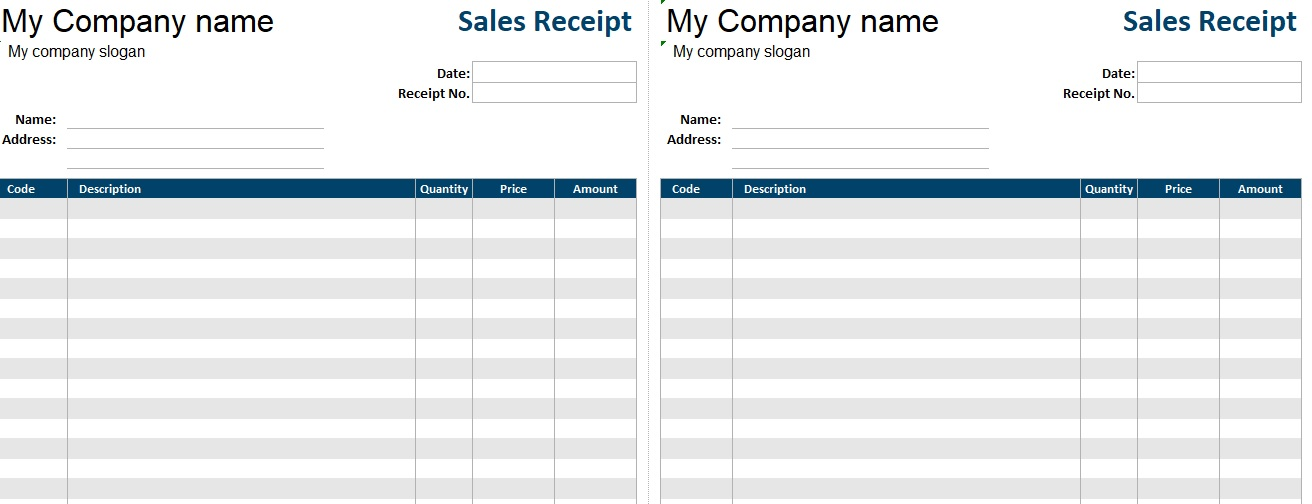 Printable Sales Receipt Template