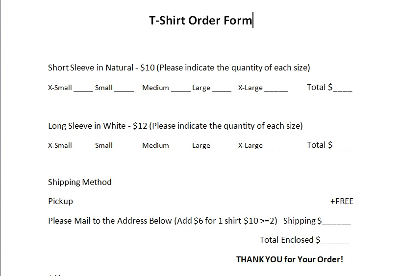 Short Long Sleeve T shirt Order Form Template