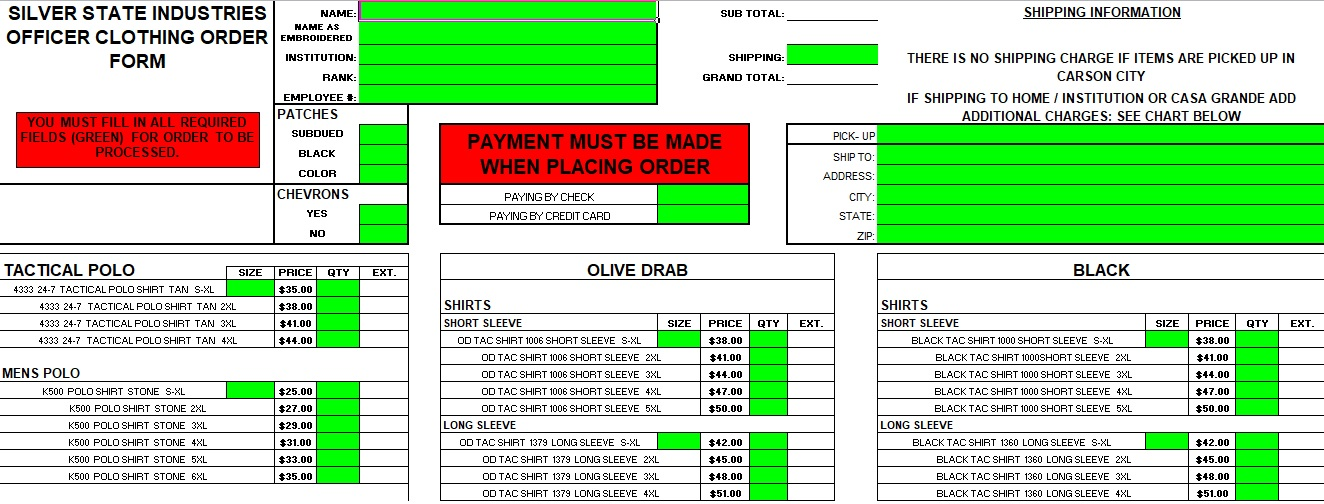 T-Shirt Order Form Excel Template