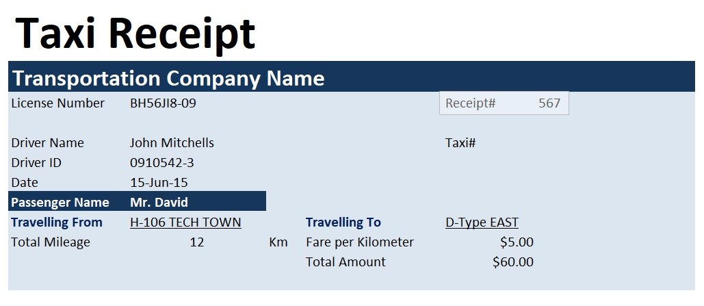 Taxi Invoice Excel Template