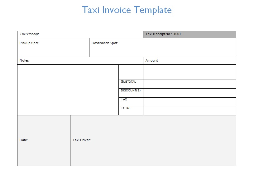 Taxi Invoice Template Format Word And Excel Excel Tmp – Manual Receipt Template