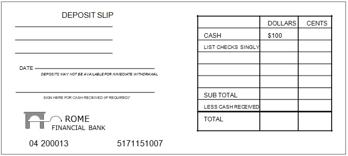 free printable deposit slips example