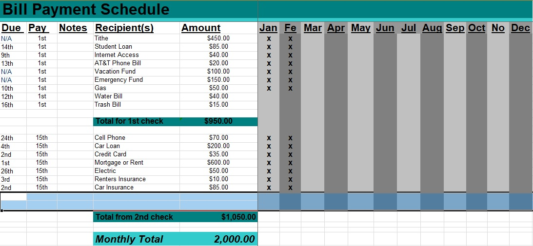 monthly bill payment schedule template