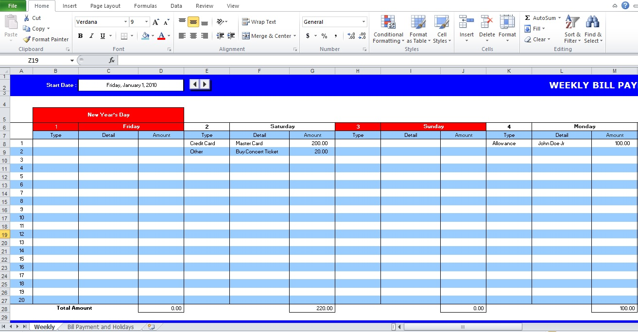weekly bill payment schedule template