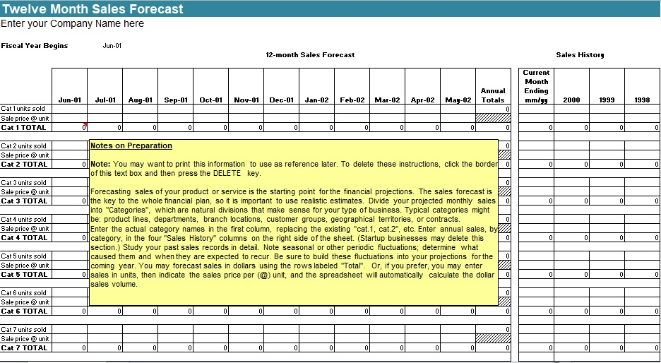 12 Month Sales Forecast Template Excel