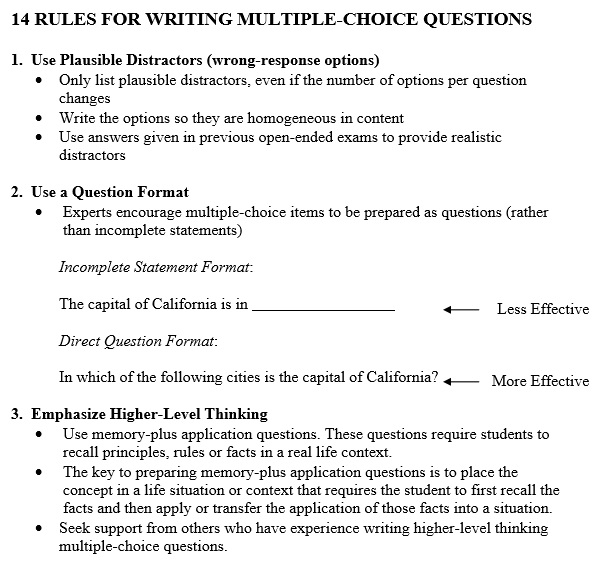 14 rules for writing multiple-choice questions