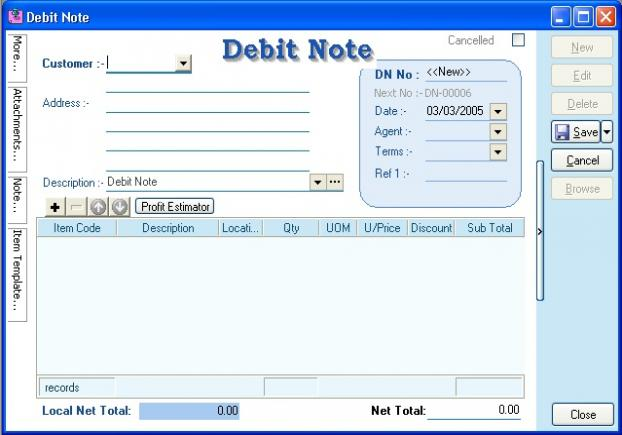 Debit Note Software