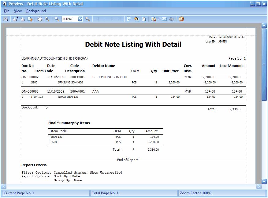 Debit Note Template Excel