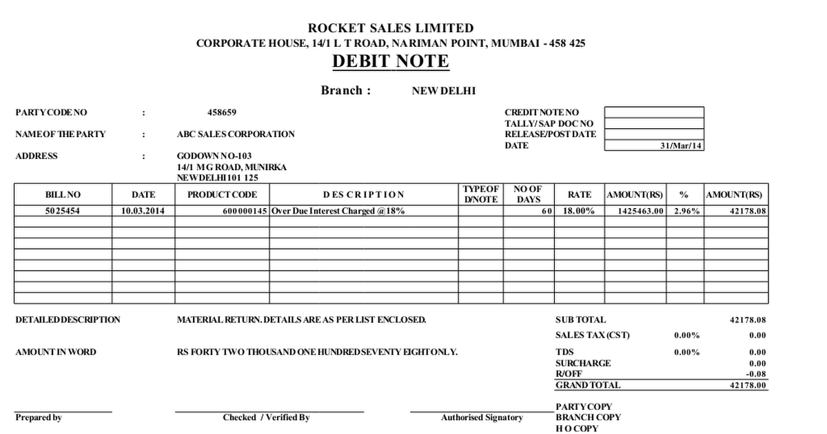 Debit Note Template Word Format