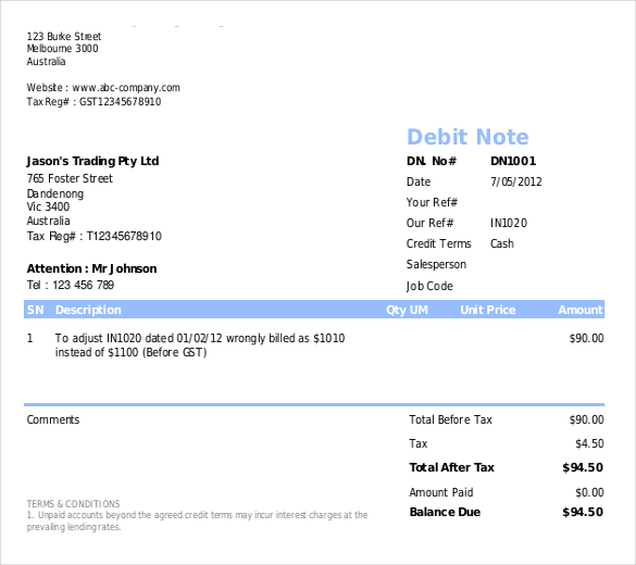 Debit Note Template