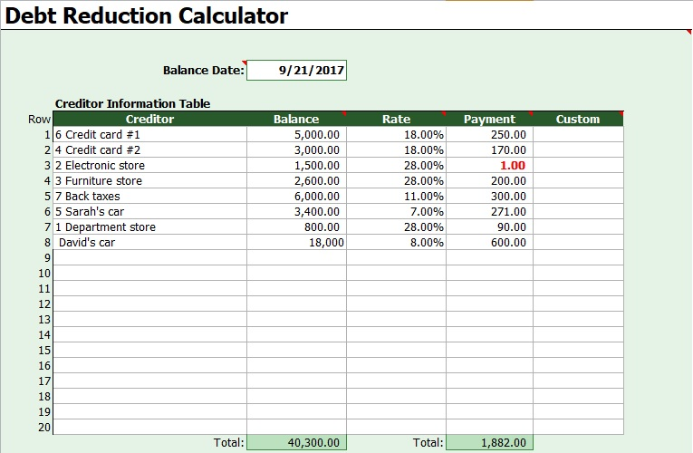 debt snowball calculator template excel