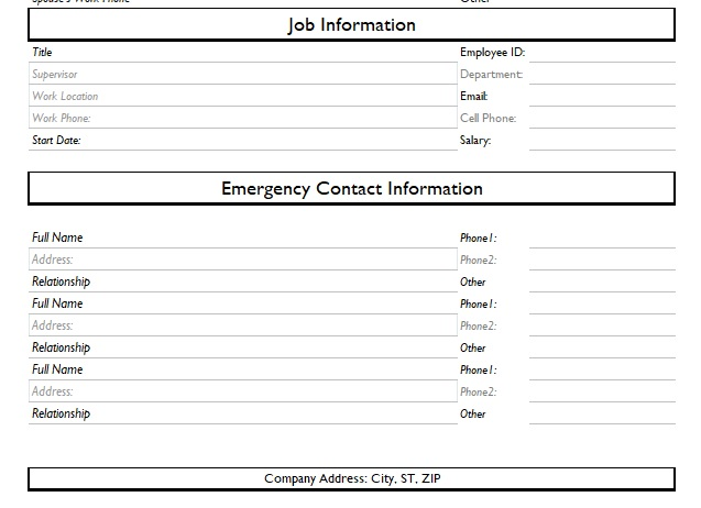 employee information form excel template