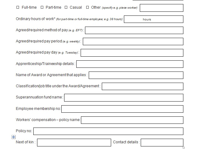 employment record template doc