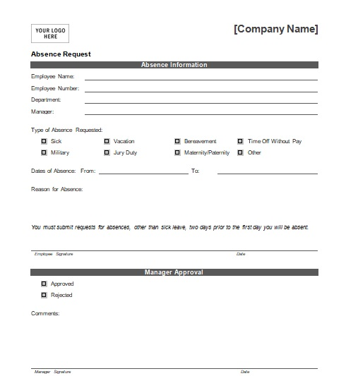 Holiday Request Form Template Word