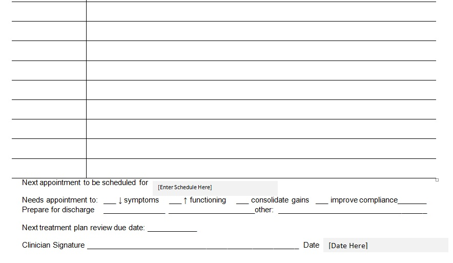 patient medical progress notes template word