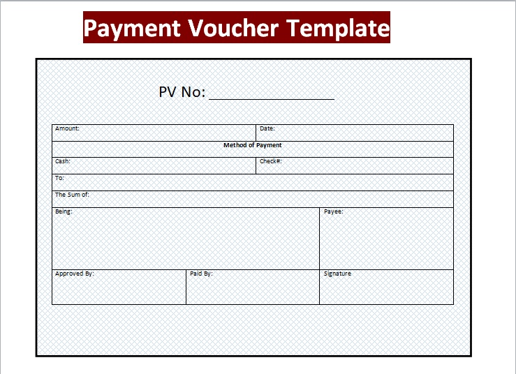 3 Sample Payment Voucher Template Excel PDF Word Excel Tmp – Payment Coupons Template