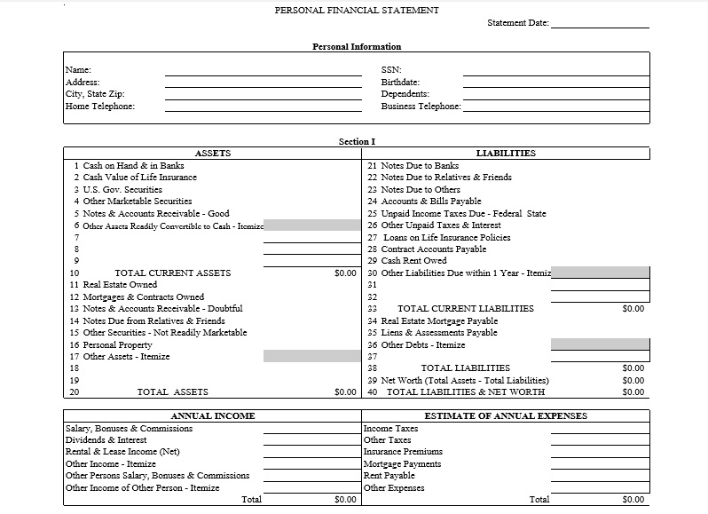 Personal Financial Statement Template PDF