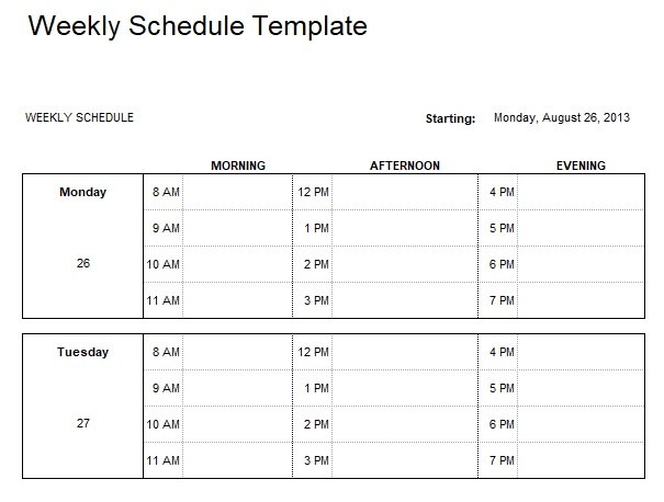 Weekly Task List Excel Template