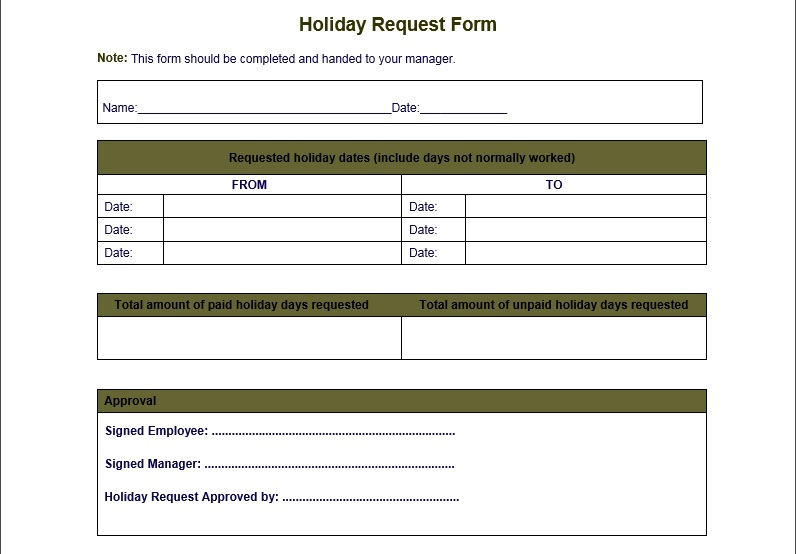 Professional Holiday Request Form Template Word  Excel  Pdf