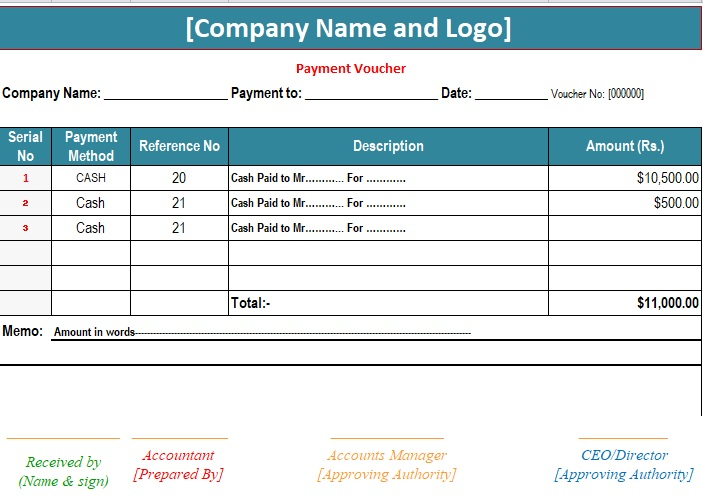 3+ Sample Payment Voucher Template {Excel - Pdf- Word} - Excel Tmp