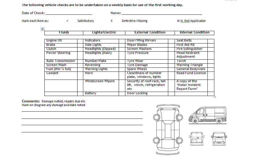 vehicle log book template word