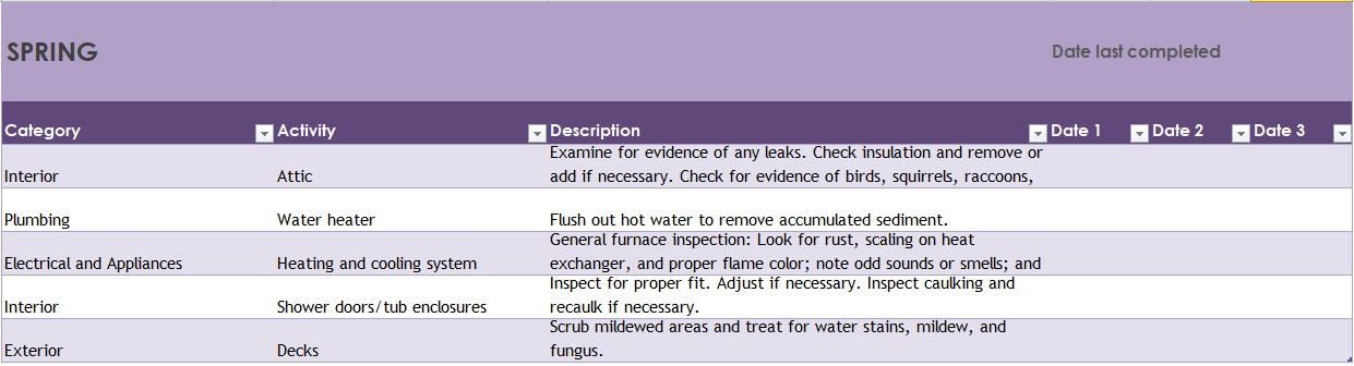 Building maintenance checklist templates excel