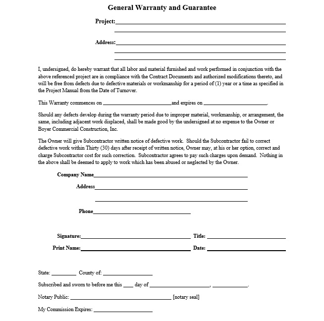 Construction Warranty Template