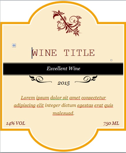 Free Custom Wine Label Template Word Excel Tmp – Wine Label Template Word