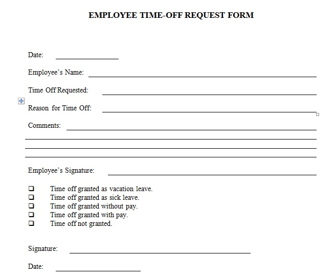 Employee Time off Request Form Word Template