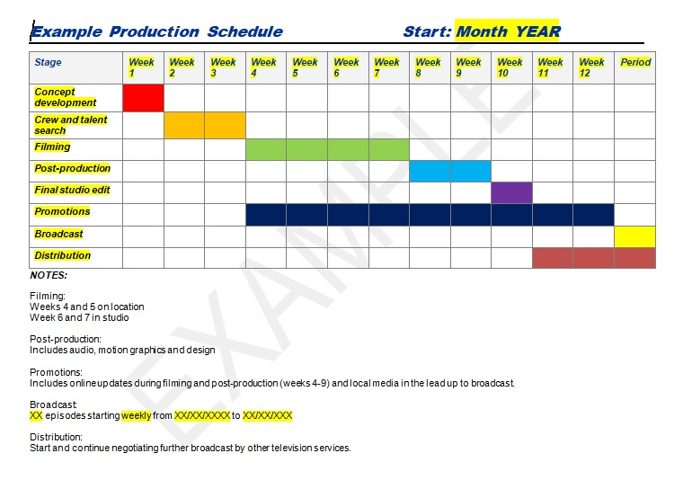 Example production schedule template