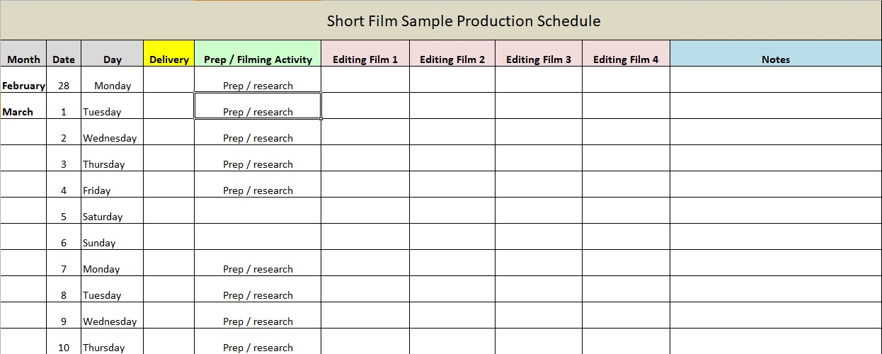Film Production Schedule Template