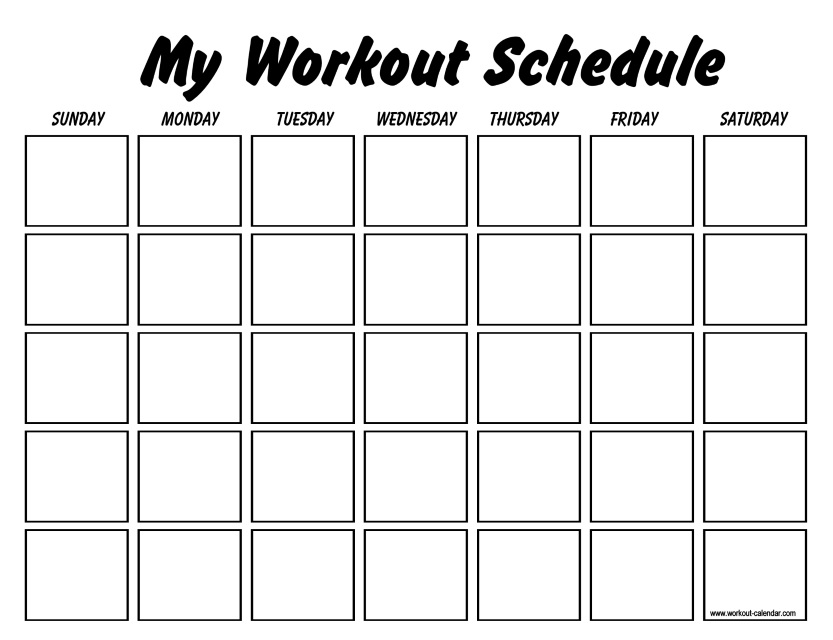 my workout schedule template