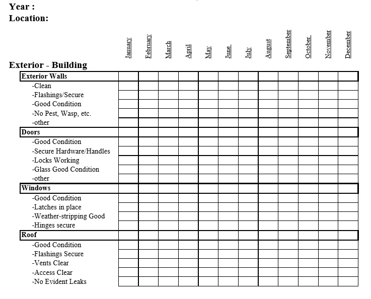 Office building maintenance checklist template