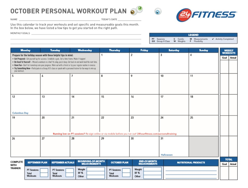 Personal Workout Plan Schedule Template
