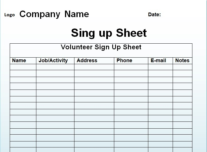 printable sign up sheet template