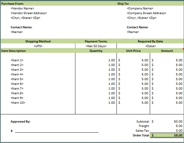 purchase order excel template free download