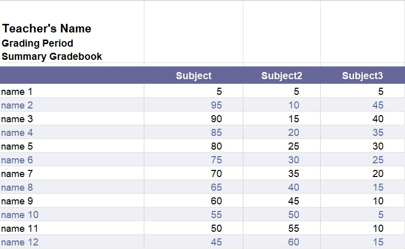 Teacher Grade Book Template Excel