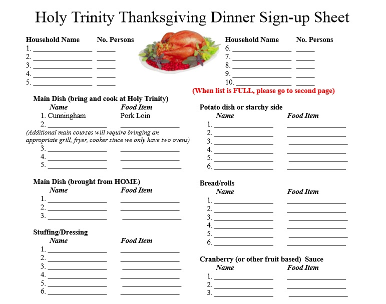 thanks giving dinner sign up sheet