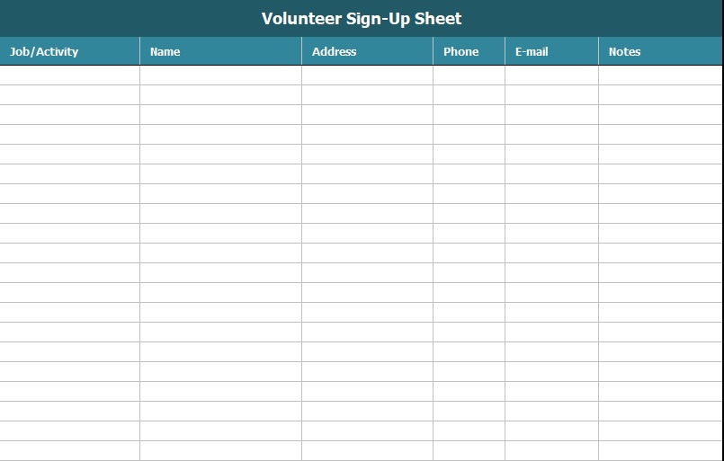 volunteer sign up sheet template