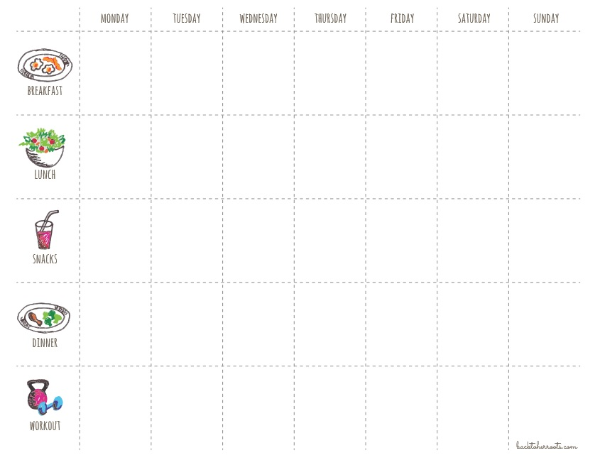 Weekly Workout Menu Schedule Template
