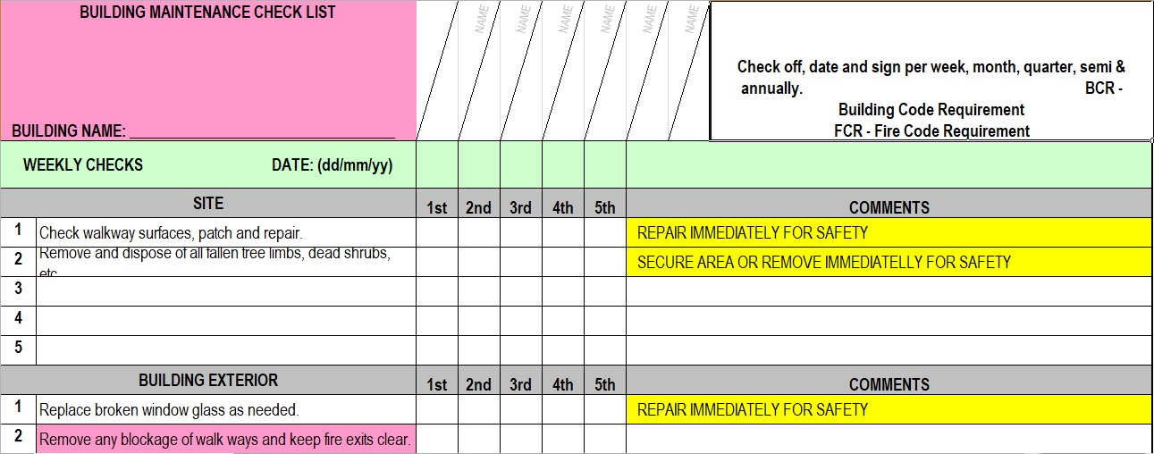 building maintenance checklist template excel